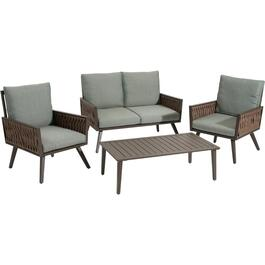 4 Piece Steel Montana Leaf Conversation Set thumb