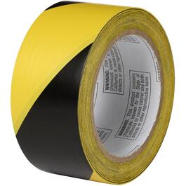 "2"" x 108' Yellow/Black PVC Hazard Floor Marking Tape thumb"
