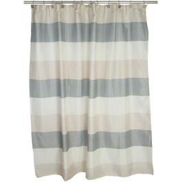 "70"" x 72"" Evans Grey/Beige Stripe Polyester Shower Curtain thumb"