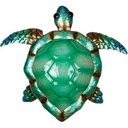 "16.5"" Decorative Sea Turtle Metal and Glass Wall Art thumb"