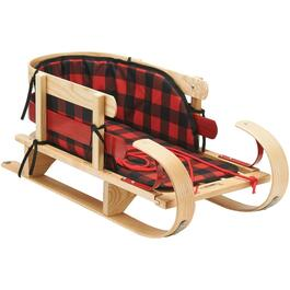 "34"" Kinder Wooden Baby Sleigh, with Flat Metal Wear Bar and Plaid Pad thumb"