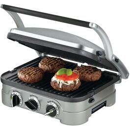 1500 Watt 5 In 1 Brushed Stainless Steel Contact Grill, with 4 Cooking Plates thumb