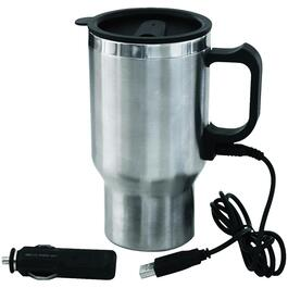 420mL 12 Volt/USB Stainless Steel Heated Coffee Mug thumb