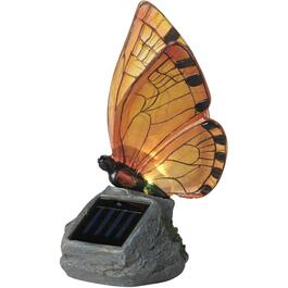 Solar Butterfly on Stone Garden Statue, Assorted Colours thumb