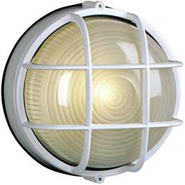 "8"" Round White Outdoor Wall Light Fixture with Frosted Glass thumb"
