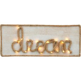 Wood/Rope Dream Battery Operated Wall Sign thumb