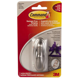 "3"" Command Brushed Nickel Plastic Traditional Medium Hook thumb"
