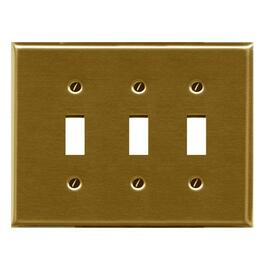 Polished Brass 3 Toggle Switch Plate thumb