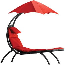 Cherry Red Original Dream Steel Lounger, with Canopy thumb