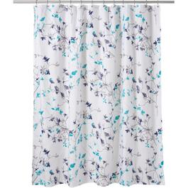 "72"" x 72"" Floral Twiggy Teal/Navy Polyester Shower Curtain thumb"