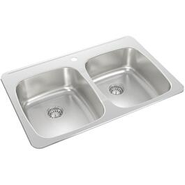 "31"" x 20 1/2"" x 8"" Stainless Steel Double Drop In Kitchen Sink thumb"