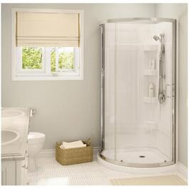 "34""x 34"" White Cyrene Round Shower Cabinet with Mistlelite Glass Door and Chrome Trim thumb"