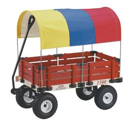 "20"" x 38"" Red Wooden Childrens Wagon, with Multi-Coloured Canopy thumb"
