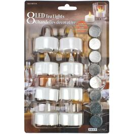 8 Pack White Battery-Operated LED Tealight Candles thumb