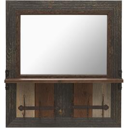 "31"" x 30"" Wall Mirror, with Shelf and Hooks thumb"