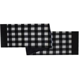 "13"" x 72"" Black and White Plaid Table Runner thumb"