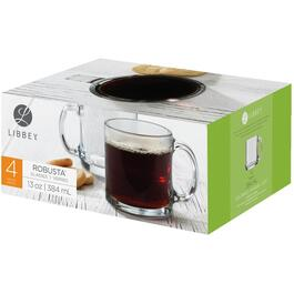 4 Piece 13oz Robusta Glass Coffee Mug Set thumb