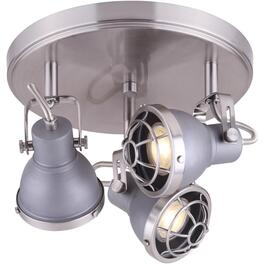 Gunnar 3 Light Brushed Nickel and Grey Wall/Ceiling Light Fixture thumb