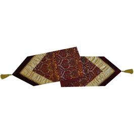 "72"" x 13"" Gold and Burgundy Damask Jacquard Table Runner thumb"