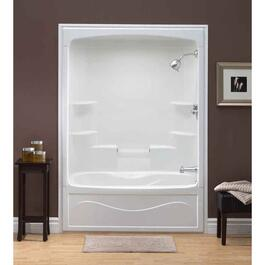 1 Piece White Acrylic Right Hand Tub and Shower thumb