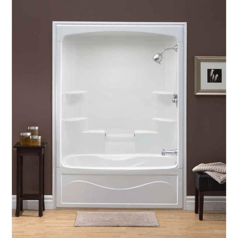 MIROLIN 1 Piece White Acrylic Right Hand Tub and Shower