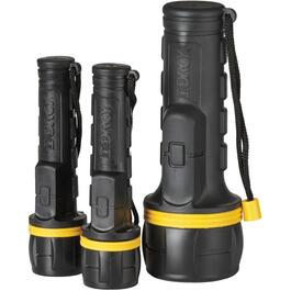 3 Pack Rubber LED Flashlights, 2 x 2 AA and 1 x 1 D Cell Batteries thumb