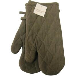 "7"" x 12"" Brown Woven Classic Oven Mitts thumb"