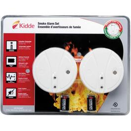 2 Pack Battery Operated Smoke Detectors, with Hush Buttons thumb