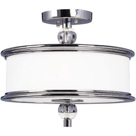 Orion 2 Light Chrome Semi Flush Fixture with White Glass thumb