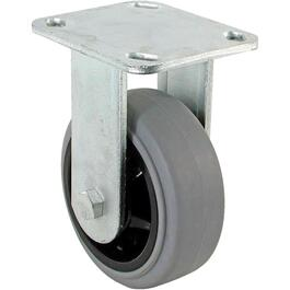 "6"" Grey Thermoplastic Rubber Wheel Rigid Plate Caster thumb"
