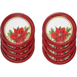"8 Pack 9"" Holly Poinsettia Paper Plates thumb"