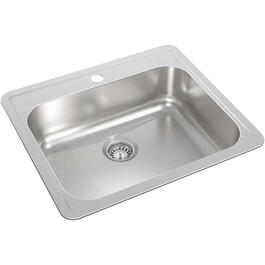 "24"" x 21"" x 8 1/8"" Stainless Steel Single Drop In Kitchen Sink thumb"
