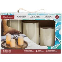 3 Pack Cream Battery-Operated LED Pillar Candles, with 5 Hour Timer thumb