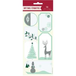 18 Pack Self-Stick Christmas Gift Tags, Assorted Designs thumb