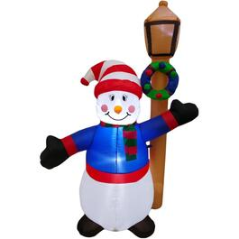 6' Snowman with Barn Lantern Outdoor Airblown Inflatable Figure thumb