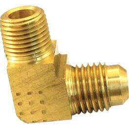 "3/8"" x 3/8"" Deluxe Brass 90 Degree Flare Elbow thumb"