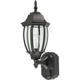 Alexandria Black Outdoor Coach Light Fixture, with 180 Degree Motion Sensor thumb