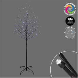 6' Indoor/Outdoor Twig Tree, with 204 Blue and White Colour Changing Twinkle LED Lights thumb