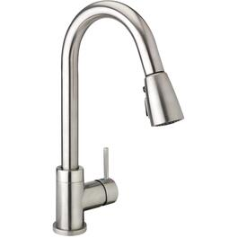 Urbania Brushed Nickel Kitchen Faucet Deck with Swivel Pull-Down Spout and Pause Button thumb