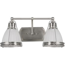 Landry 2 Light Satin Nickel Vanity Light Fixture with White Glass Shades thumb