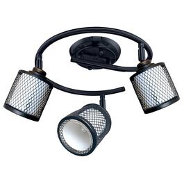 Baltimore 3 Light Black Wire Circular Track Light Fixture with White Glass Shades thumb