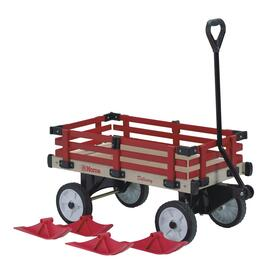 "16"" x 36"" Red Wooden Childrens Wagon with Sleigh Runners thumb"