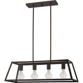 4 Light Oil Rubbed Bronze Flynn Chandelier Light Fixture with Clear Glass thumb