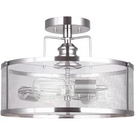 Beckett Brushed Nickel Semi-Flush Light Fixture with Metal Shade thumb