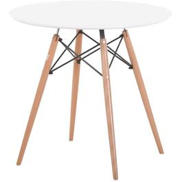 White Midcentury Modern Round Dining Table thumb