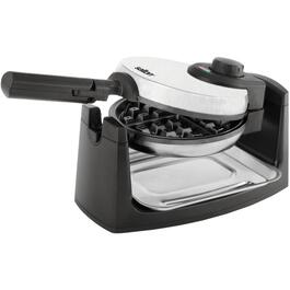 "7"" 4 Section Round Black/Brushed Stainless Steel Rotary Waffle Maker thumb"