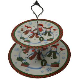 2 Tier Porcelain Snowman Plate Set thumb