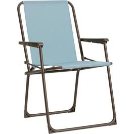 Silver Blue Spring Tension Folding Fabric Chair thumb
