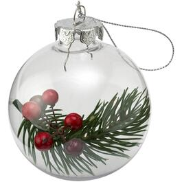 80mm Plastic Clear Pine/Berry Ornament thumb