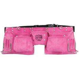 11 Pocket Pink Large Leather Carpenters Waist Apron thumb